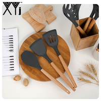 XYj Kitchen Utensils Set Silicone Cooking Utensils Set Natural Acacia Hard Wood Handle Black Kitchen Knife Holder Block Stand