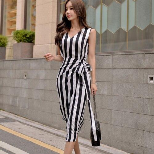 G368568 mode 2019 été OL élégant col en V robe rayée
