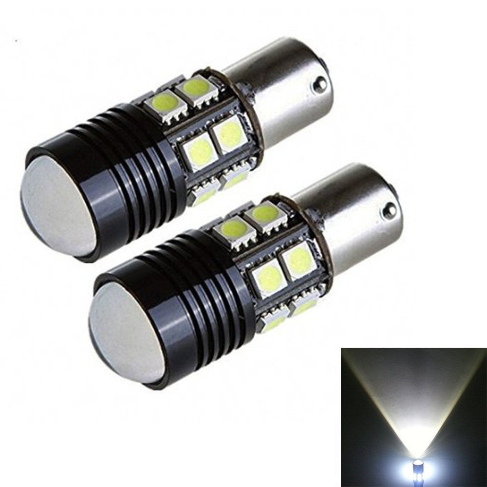 2 x White 1156 BA15S P21W 5050 12SMD LED Reverse Backup Light Camper SUV MPV RV Car Replacement Bulb Tail Brake Lights 2pcs high quality superb error free 5050 smd 360 degrees led backup reverse light bulbs t20 for hyundai i30