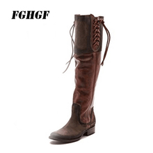 FGHGF WomenS Boots Pure Color New Trend Keep Warm Autumn Winter Suitable Wear Over Knee Square Heel Wool Rubber