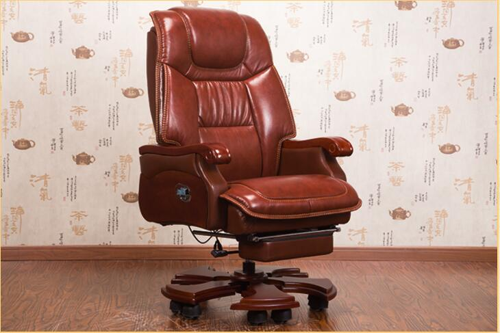 Купить с кэшбэком Home leather boss chair office chair massage reclining chair computer chair leather solid wood chair.