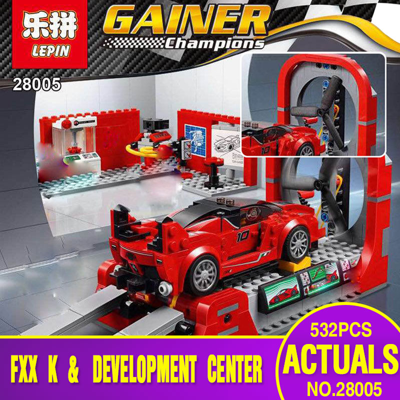 Lepin 28005 Super Racer Series The FXX K and Development Center Set 532Pcs Educational Building Blocks Bricks Toys Gifts 75882 hot racing italy horse logo fxx k
