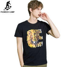Pioneer Camp T Shirt Men Cotton 100% Short Summer Casual T-shirt Black Funny lion Print Tshirt ADT902149