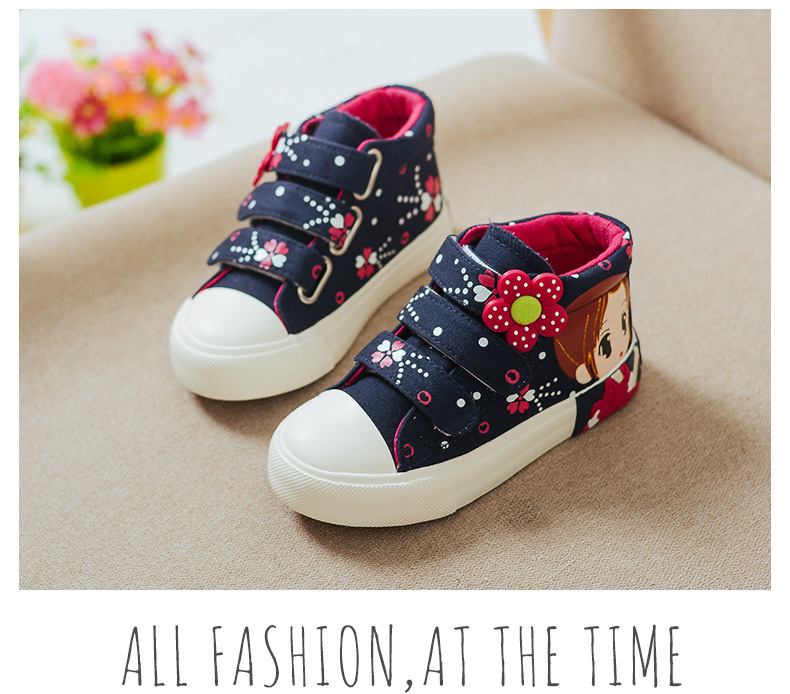 19 Spring Autumn Children Canvas Shoes Girls Fashion Sneakers 3 Colors High Baby Casual Shoes Breathable Princess Shoes 8