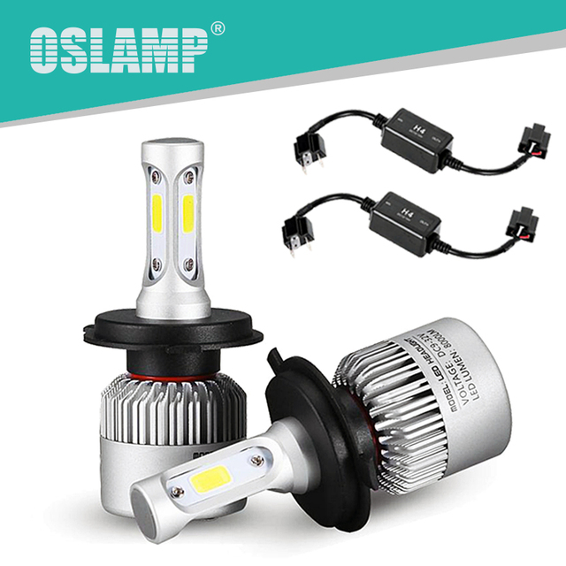 Oslamp Hi-Lo Beam COB Chips 6500K H4 LED Car Headlight with Canbus/Decoder 2WD 4WD Led Auto Head Lamp SUV LED Bulb Kits with Fan
