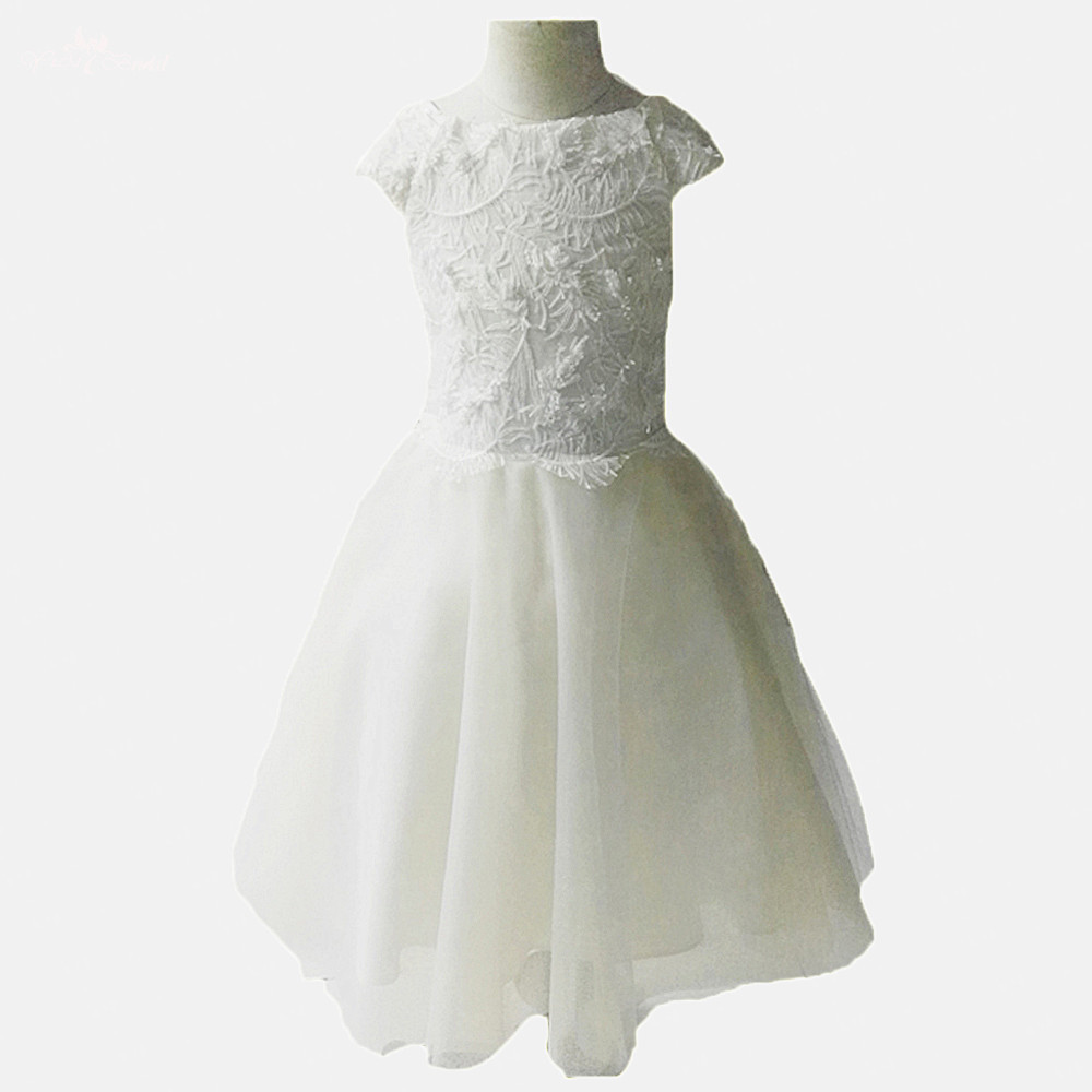 FG72 Real Pictures Yiaibridal A-Line Cap Sleeves Feather Pattern Lace   Flowers     Girls     Dresses