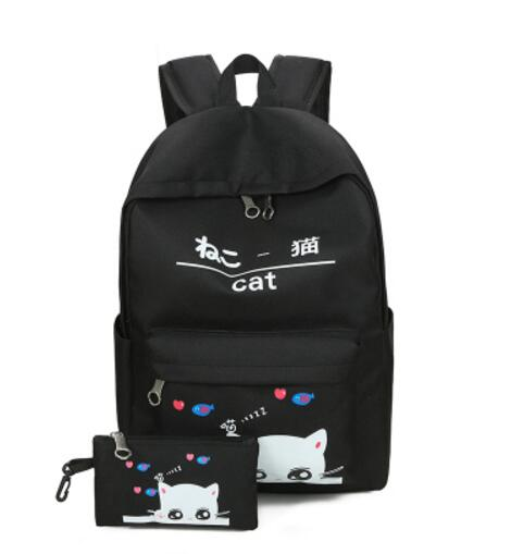 2Pcs Girls Little Cat Eyes Backpack + Purse Pen Case Bag Girl School Laptop Shoulder Bag Rucksack Canvas Travel Bags
