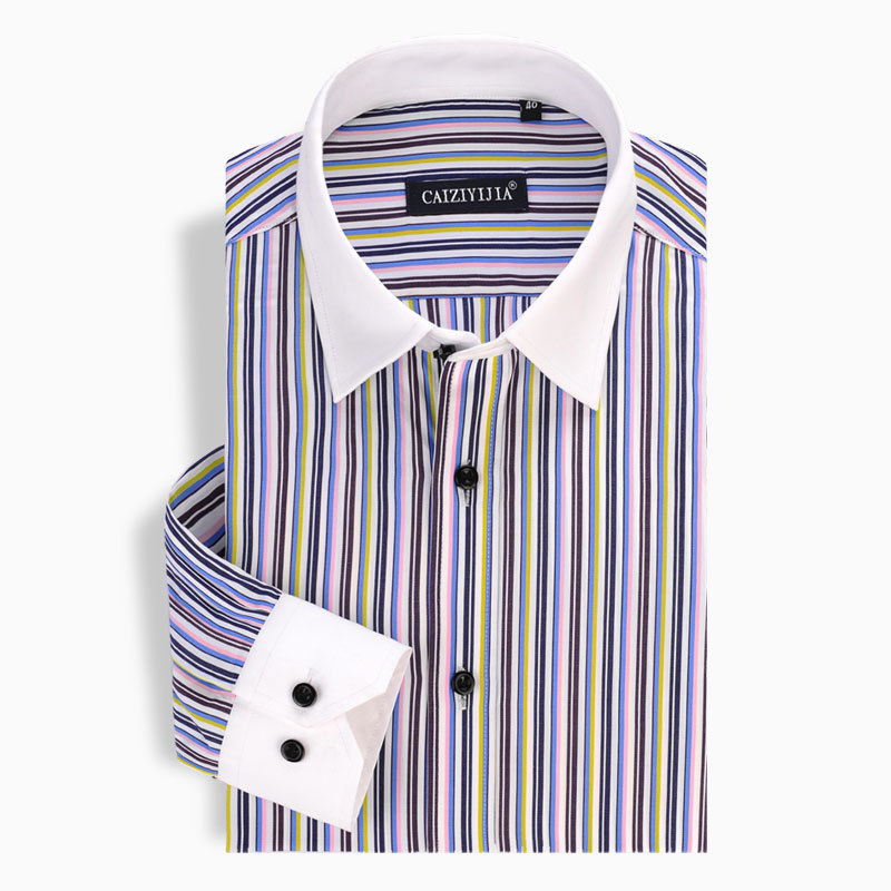 Caiziyijia 2017 men 39 s contrast color vertical striped for Vertical striped dress shirt