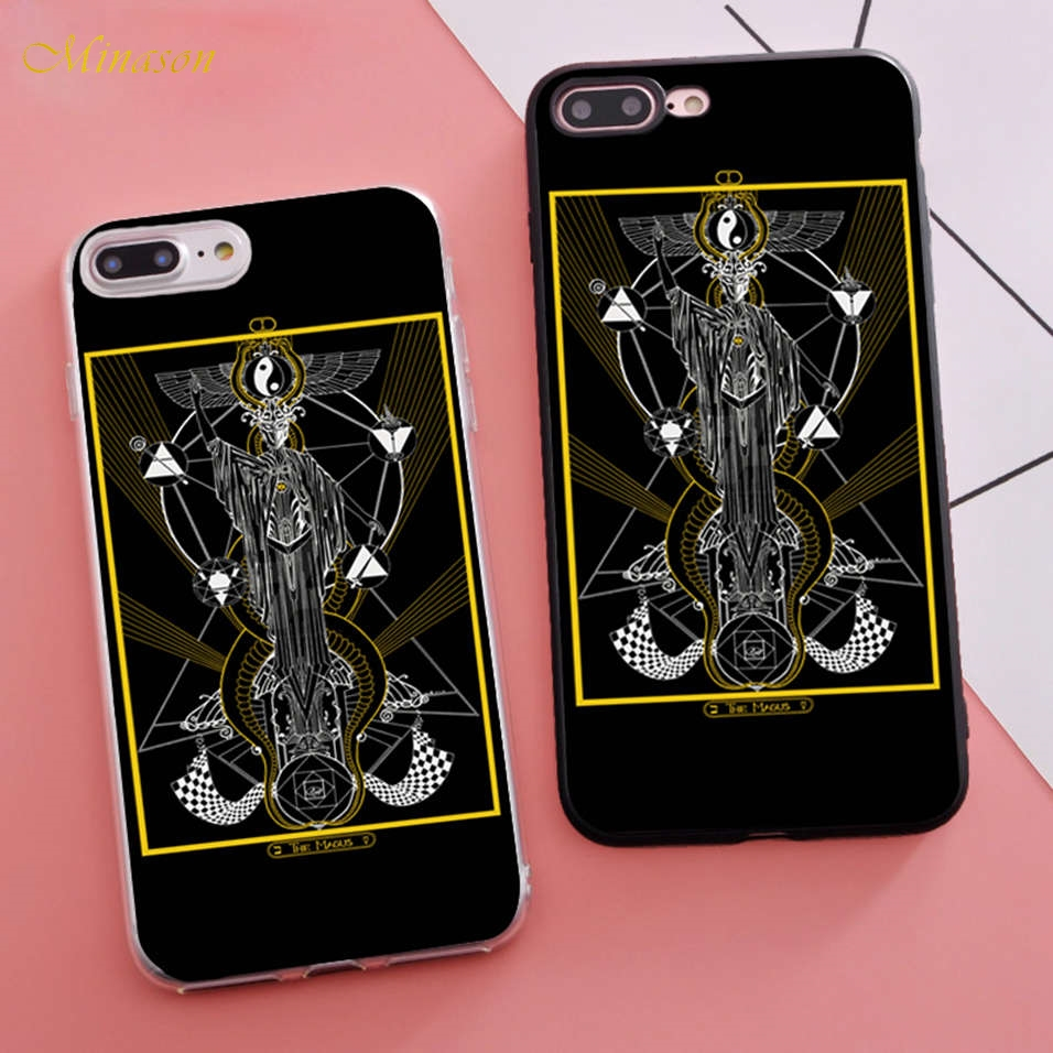 Minason Trending Coque Tarot Cards Fitted Housings Phone Case for iPhone X 5s SE 6 S 6s 7 8 Plus Cover Transparent Bumper