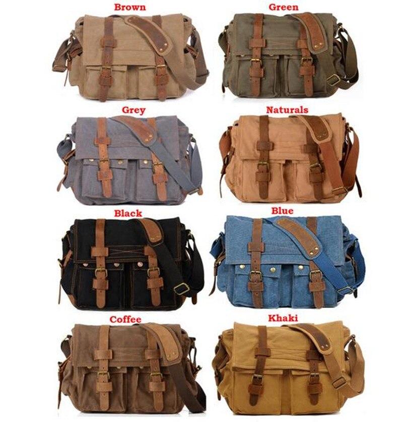 5 couleurs AUGUR hommes messenger sacs militaire vintage toile et cuir véritable bandoulière ordinateur portable sac de randonnée