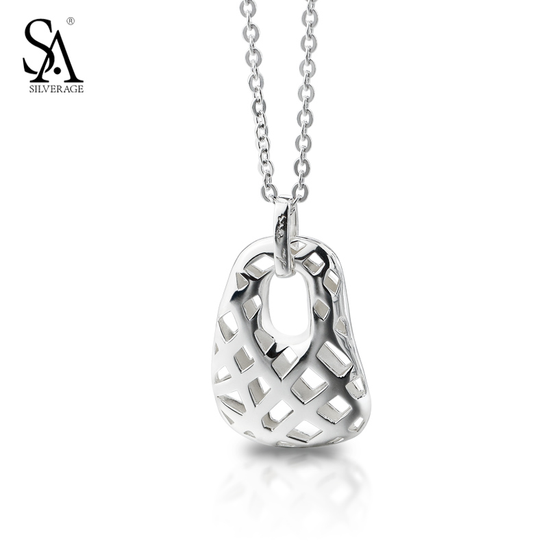 SA SILVERAGE Collier Argent Hollow Weave Pendant 925 Silver Chain Necklace For Women French Style Fine Jewelry Gift