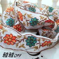 2017 New Heavy Bead Sequin Embroidery Lace Trim Ribbon White DIY Gauze Wedding Dress Clothing Accessories