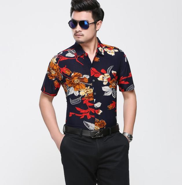 236466a49a56 Free shipping mens floral shirt summer new style flowers printed shirts  short sleeve floral casual jpg
