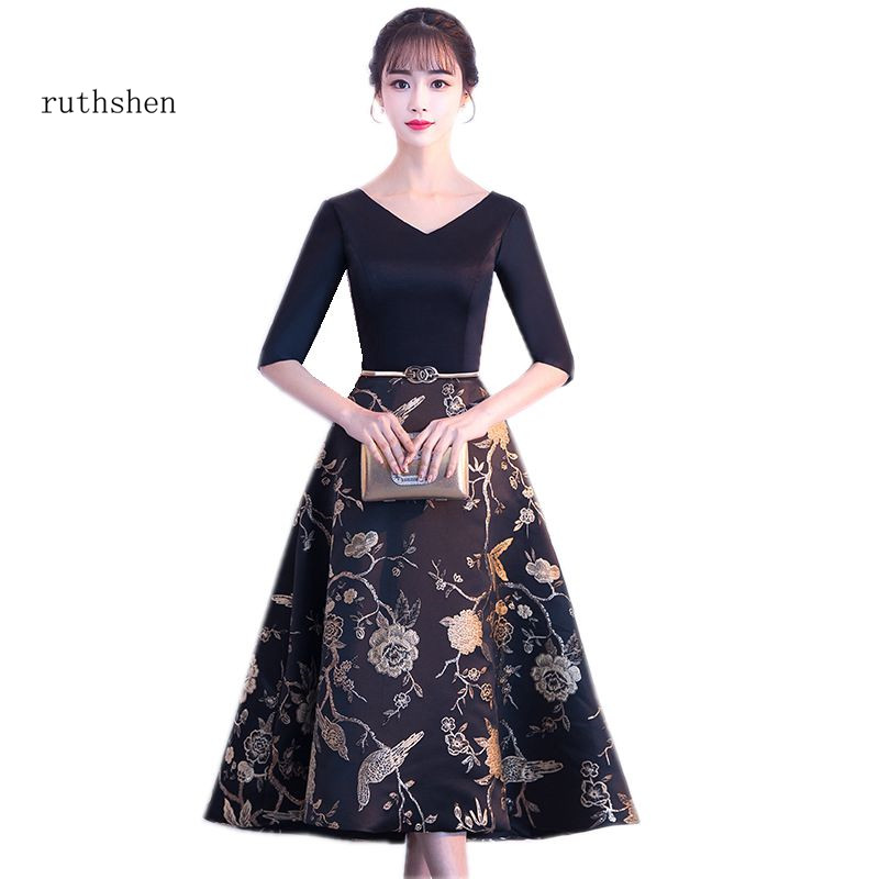 ruthshen Floral Print Tea Length Prom Dresses V-neck A-line Satin Party Gowns New Arrival Half Sleeves Special Occasion Dresses