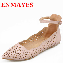 ENMAYES Flats Shoes Big Sizes 34-43 Casual Woman Shoes Pointed Toe Flats Buckle New Women Sandals Flats Shoes Cut-Outs Flats