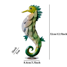 VILEAD 12.5 Colorful Wood Hippocampus Figurines Seahorse Wooden Decoration Animal Ornament Home Decor Creative Christmas Gifts