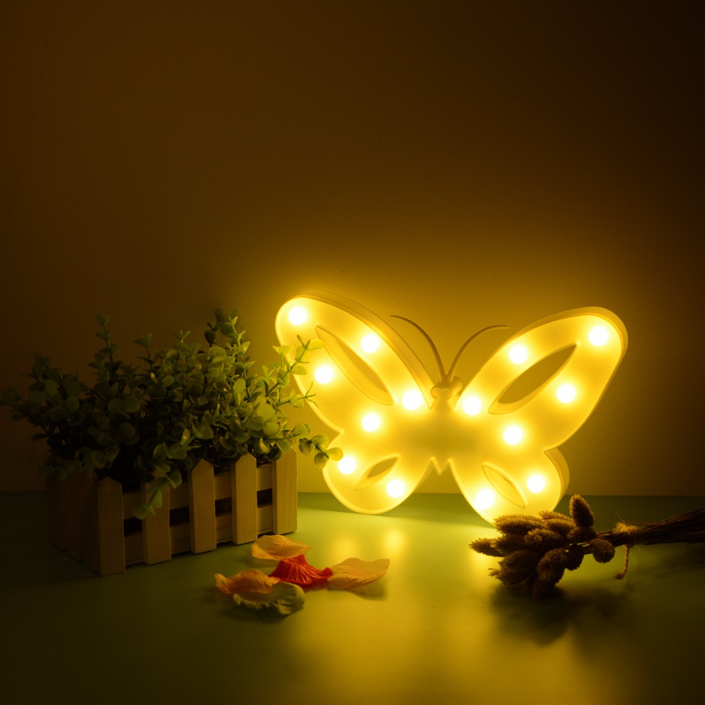 Butterfly Pattern Led Night Light Festival Bedroom Art Decor Lucky Xmas Party Decoration Lamp Luminaria Supplies Wholesale