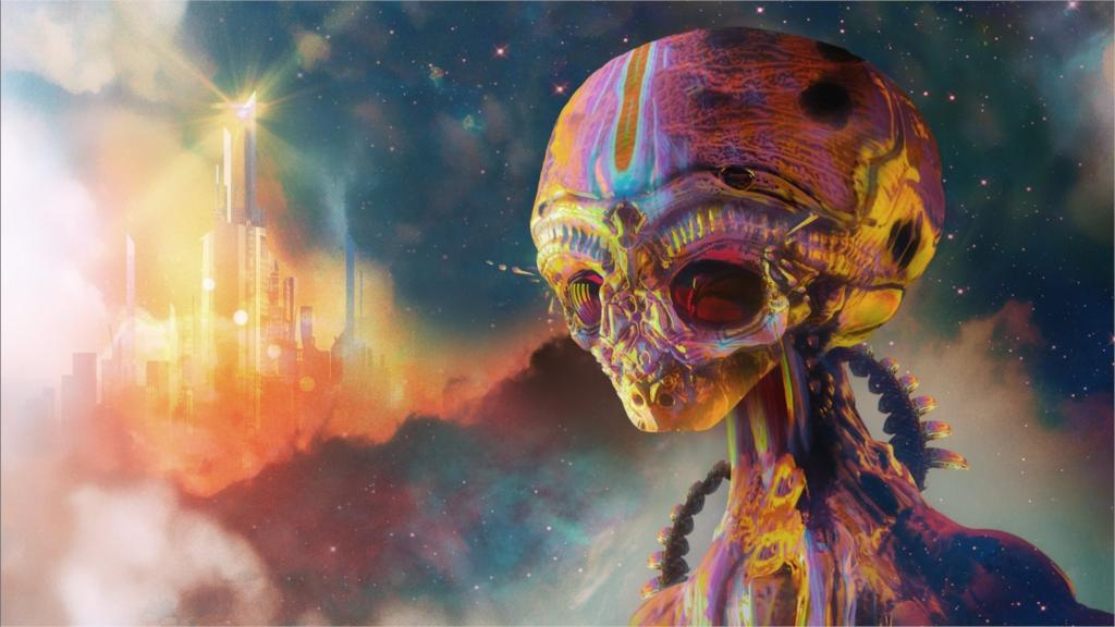 Aliens space science psychedelic Cool Poster Home school Decor Wall Sticker Various Size Free Shipping