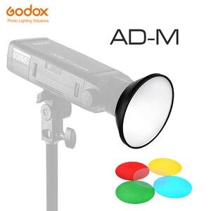 Image 1 - Godox AD M Standart Reflektör ile Güzellik Bulaşık 5 Renk Filtreler Yumuşak Difüzör Godox AD200 AD180 AD360 AD360II Kamera Yanıp Söner