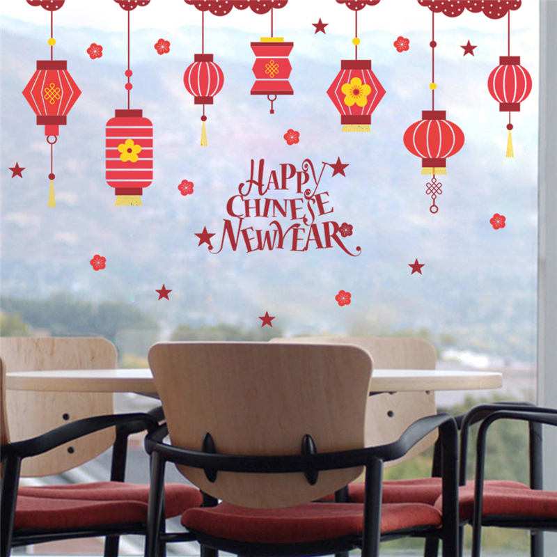 Chinese Spring Festival Red Lantern Flower Wall Stickers ...