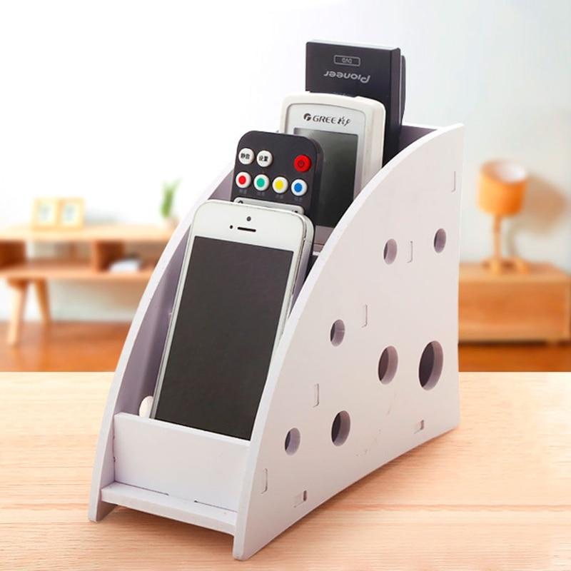 New Plastic Wood TV Air Remote Holder Home Sundries Storage Case Desk Organizer Box