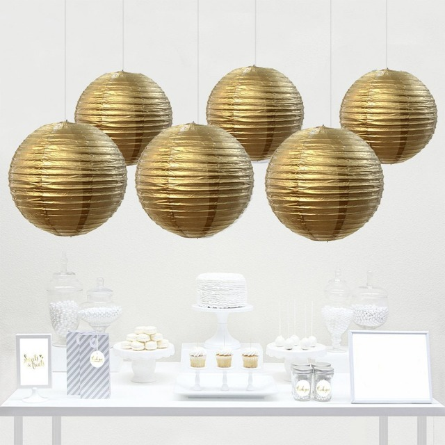 12 pack gold chinese paper lantern lamp shades for wedding marquee 12 pack gold chinese paper lantern lamp shades for wedding marquee boy baby shower hen aloadofball Gallery