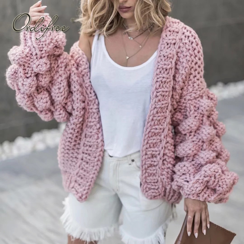 Ordifree 2017 Autumn Winter Women Knitted Cardigan Warm Hand Made Pink Grey Pull Femme Ladies Sweater Cardigan