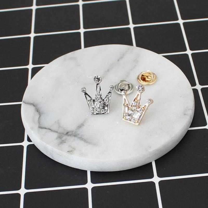 Rhinestones Crystal Mini Little Crown Men And Women Brooch, Korean Version Of Retro Suit Crystal Collar Accessories Cheap-brooch gold earrings for women