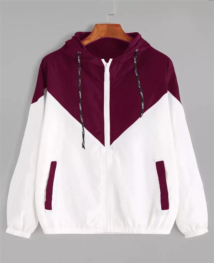 Women   Basic     Jackets   Female Zipper Pockets Casual Long Sleeves Coats Autumn Hooded   Jacket   Two Tone Windbreaker   Jacket   10 Color