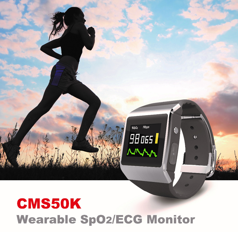 Wireless Uploaded 3 in 1 Monitor SpO2,ECG,Pedometer Wearable Digital Pulse Oximeter Step Number and Calorie Display
