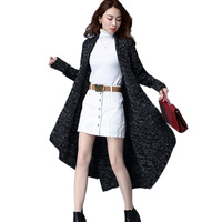 Korean Women Long Coat Spring Autumn Large Size Sweater Jackets 2017 New Loose Thick Female Outside