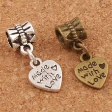 Made With Love Heart Big Hole Beads 9.8x23.5mm 25pcs Antique Silver/Bronze Fit European Charm Bracelets Jewelry DIY B319