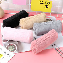 Cute Solid Color Plush Pencil Case For Girls Pencil Bag Stationery Pencilcase Kawaii School Supplies Mini Handbag Coin Purse(China)