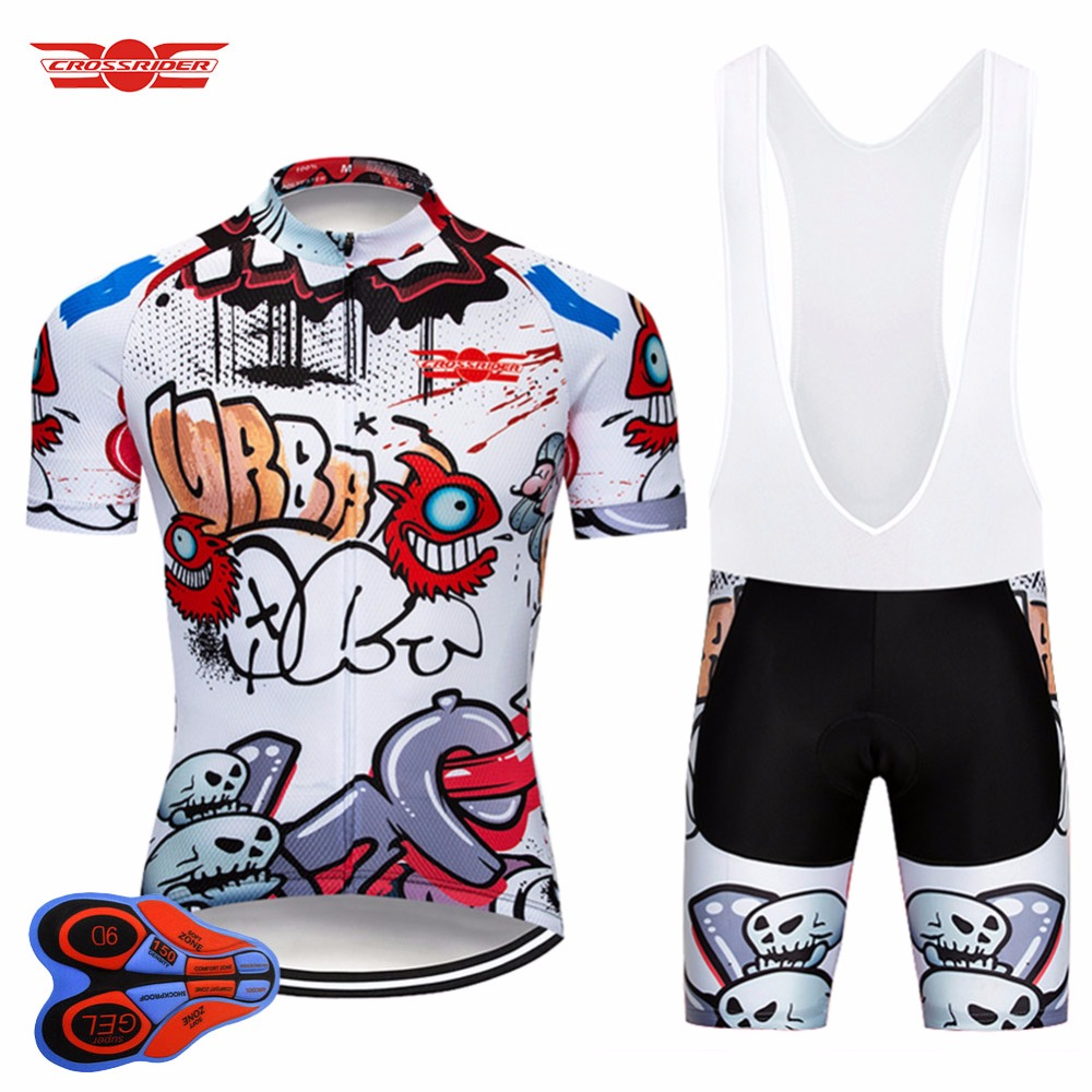 Crossrider 2019 Funny Cycling Short Jersey 9D bib Set MTB Bike Clothing Breathable Bicycle wear Men's Maillot Culotte