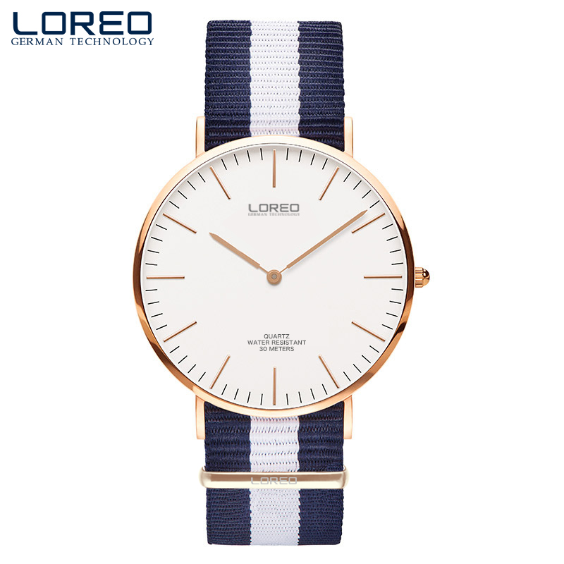 LOREO Korean version 30m water resistant sapphire glass thin section simple fashion elegant lover s quartz