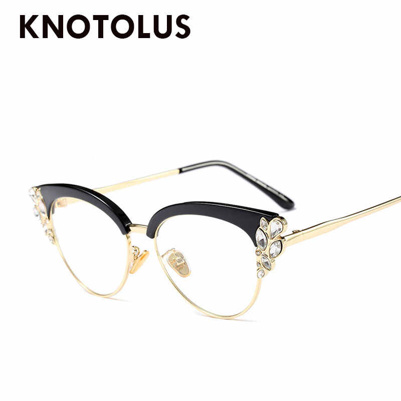 5da9a7462f5a Knotolus Luxury Brand Ladies Cateye Diamond Glasses Frames For Women Brand  Designer Eyewear Optical EyeGlasses