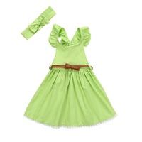 2017 New High Quality 3Pcs Baby Woven cloth Dress + Headband + Belt Set girls clothing sets suit skirt Baby Girl Summer Outfit