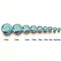 Nieuwe Blauwe Bloem Oor Expander Plug Brancard Piercing Gauge Oor Piercing Verkocht Als 1 Paar Rvs Schroef Tunnels 3 ~ 16mm