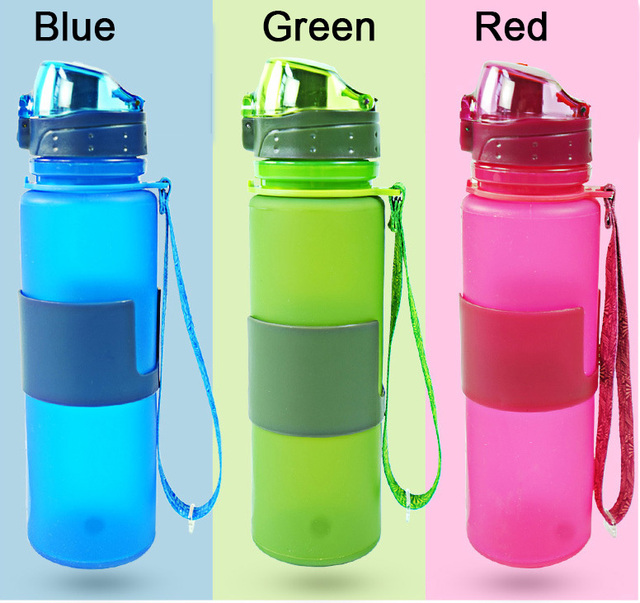 2016 Portable 650ml Silicone Folding Water Bottle Climbing Hiking Camp Sports Kettle Leak-proof Plastic Bottle Drinkware