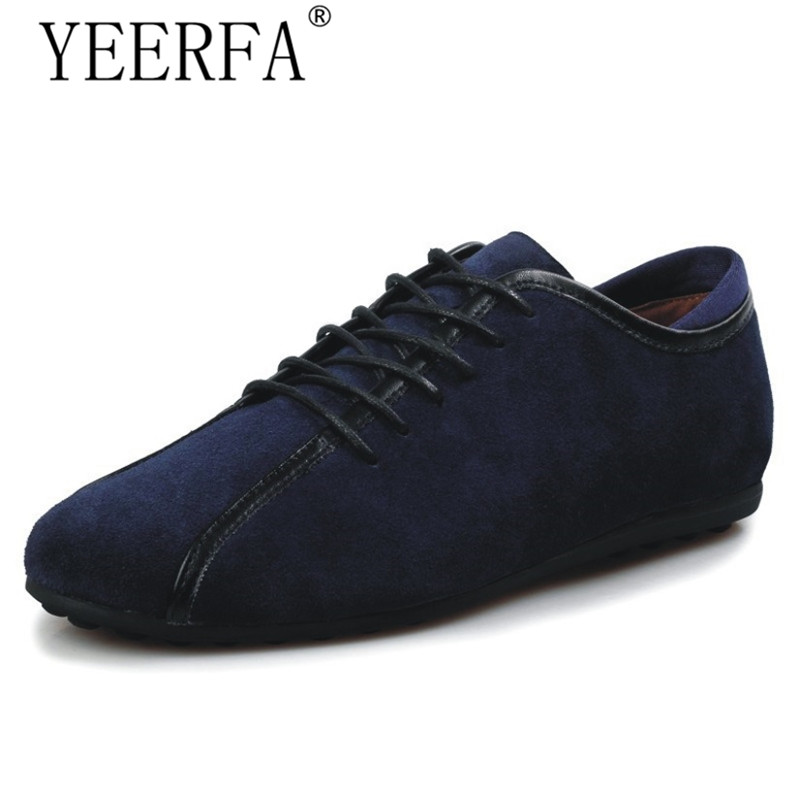 YIERFA Men Casual Shoes For 2017 Autumn Fashion Lace Up Loafer Flats Shoes Cow Suede Leather Moccasins Mens Driving Shoes dxkzmcm men casual shoes lace up cow leather men flats shoes breathable dress oxford shoes for men chaussure homme