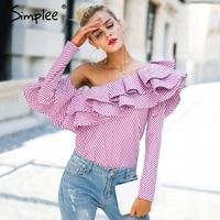 Simplee One Shoulder Ruffles Blouse Shirt Women Tops Autumn Casual Yellow Shirt Long Sleeve Fashion Cool