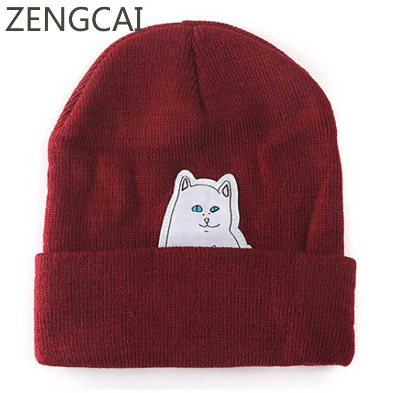 2018 Women Cat Beanie Hip Hop Cap Men Knitted Woolen Hat Casual Skullies Beanies Streetwear Caps Fashion Winter Autumn Warm Hats 2017 autumn and winter womens beanie brand knitted hat turban butterfly diamond skullies cap ladies lnit hats for women beanies