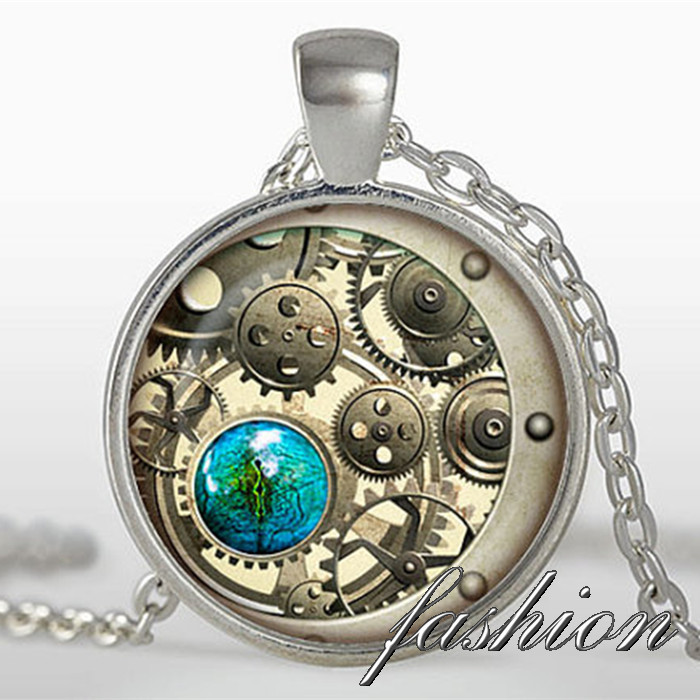 New 2015 steampunk cat pendant steampunk clock necklace silver new 2015 steampunk cat pendant steampunk clock necklace silver plated pendant steampunk jewelry black brown white in pendant necklaces from jewelry aloadofball Choice Image