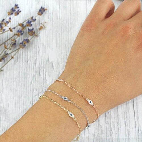 925 sterling argent bracelet minimal design délicat pour fille femmes cadeau 16 + 5 cm étendre chaîne turc evil eye chanceux bijoux