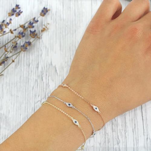 925 sterling bạc vòng đeo tay tối thiểu thiết kế tinh tế cho các cô gái phụ nữ quà tặng 16 + 5 cm mở rộng chuỗi thổ nhĩ kỳ evil eye may mắn đồ trang sức