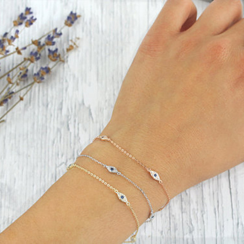 925 sterling silver bracelet minimal delicate design for girl women gift 16+5cm extend chain turkish evil eye lucky jewelry blue cz evil eye disco charm cz cross dainty silver chain girl women evil eye jewelry 925 sterling silver lucky eye necklace