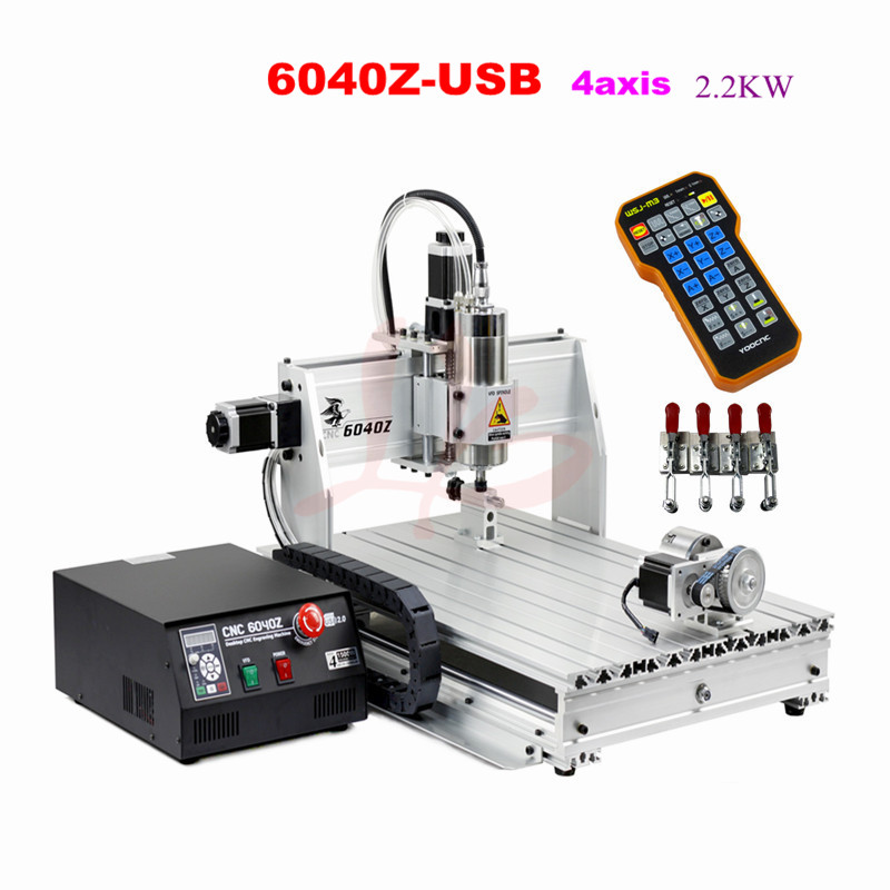 6040Z-USB rotary axis 2.2kw CNC Router metal CNC engraver milling machine with mach3 remote control,free  tax to  russia free tax to eu high quality cnc router frame 3020t with trapezoidal screw for cnc engraver machine