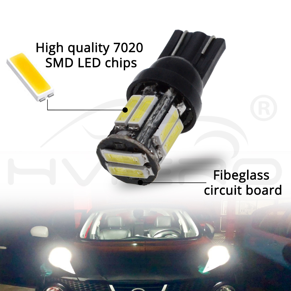 W5W 10 Led 7020 SMD Car T10 LED 194 168 Wedge Replacement Reverse Instrument Panel Lamp White Blue Bulbs For Clearance Lights in Signal Lamp from Automobiles Motorcycles