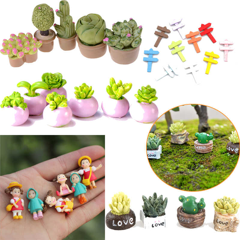 Mini Miniature Green Plant In Pot For Dollhouse Furniture Decor 1:12 Home Decor Succulent plants Japanese Cute Anime Toy Figures