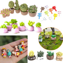 Mini Miniature Green Plant In Pot For Dollhouse Furniture Decor 1:12 Home Decor Succulent plants Japanese Cute Anime Toy Figures(China)